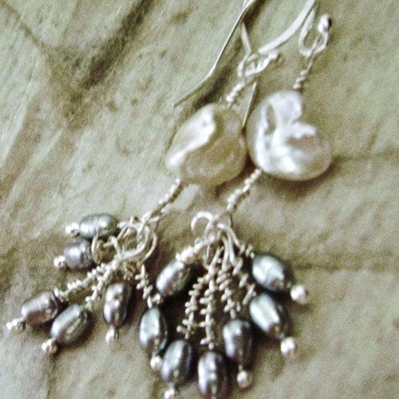 White Keishi pearl dangles, sterling silver, handcrafted, sea, ocean, sea, drops, feminine, freshwater pearls, gift for her, feminine, long