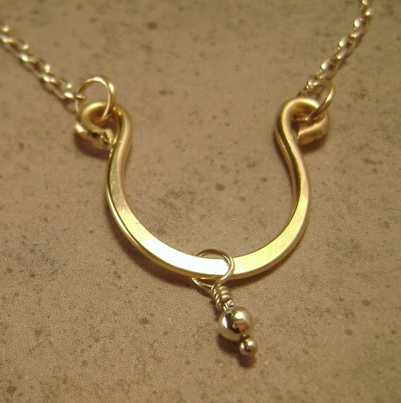 Lucky U Horseshoe Necklace (Gold and Silver)