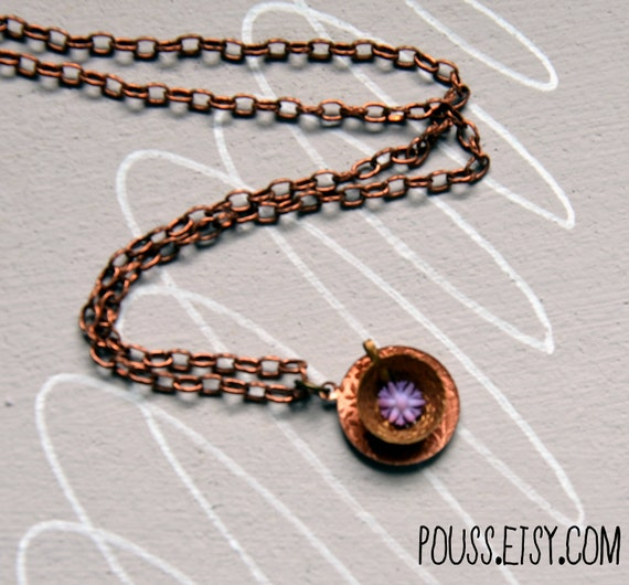 Vintage Teacup Charm Necklace with Purple Flower