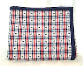 Plaid elephant baby quilt - red and navy