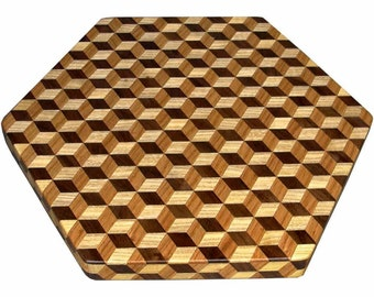 Large Brown Tone Tumbling Block Lazy Susan
