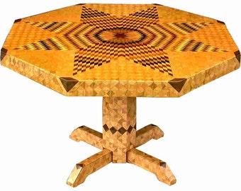 Large Flickering Lone Star Oak Table