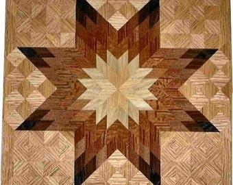 Medium Brown Tone On Oak Lone Star Quilt Block
