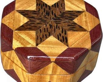 Black Palm, Satinwood and Purpleheart Ring Box
