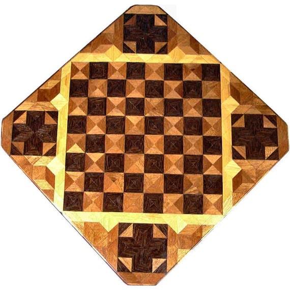 Wenge, Philippine Mahogany and Hackberry Chess Board