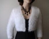 White Angora Cardigan  Bridal Bolero hand knit inspired by Royal Wedding Kate Middleton wedding dress