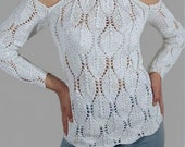 Hand Knit White Sweater Lace Leaf Pattern  from organic cotton yarnSize Medium Custom Orders Accepted