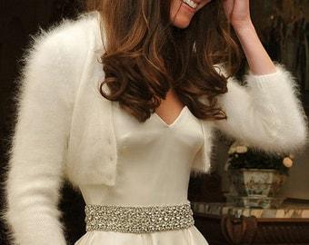 Hand Knit White Angora Cardigan Bridal Bolero Jaket  inspired by Royal Wedding Kate Middleton White Angora Cardigan Ready to ship