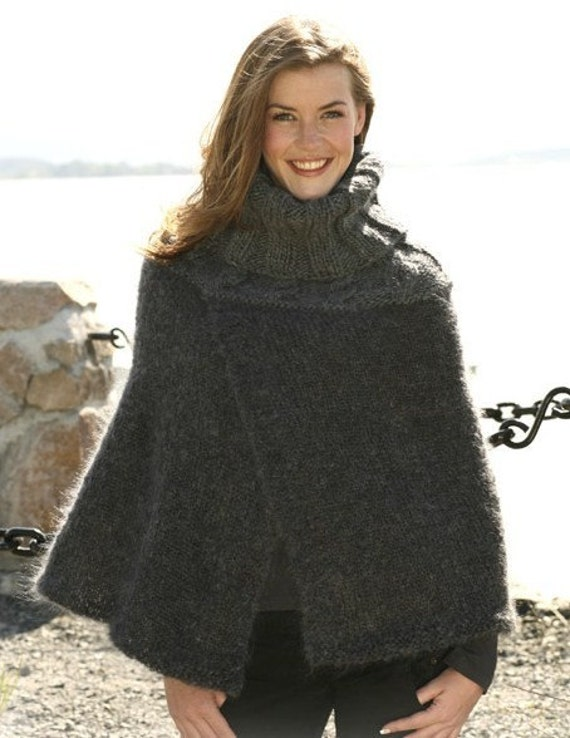 Merino Cape Knitting Pattern : Hand Knit Poncho Cape Mohair Merino Wool by tvkstyle on Etsy