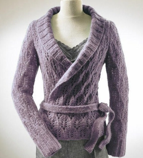 Free Knitting Patterns Alpaca Sweaters : Hand Knit Cardigan Jacket with Leaf Pattern From Alpaca cloud