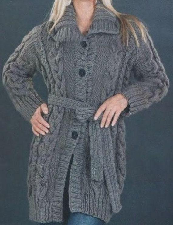 Hand Knit Coat Long Cardigan Jacket Cable Pattern Merino Wool