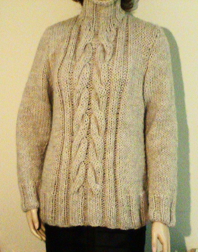 On SALE Hand Knit Long Sweater Tunic Cable Pattern by tvkstyle
