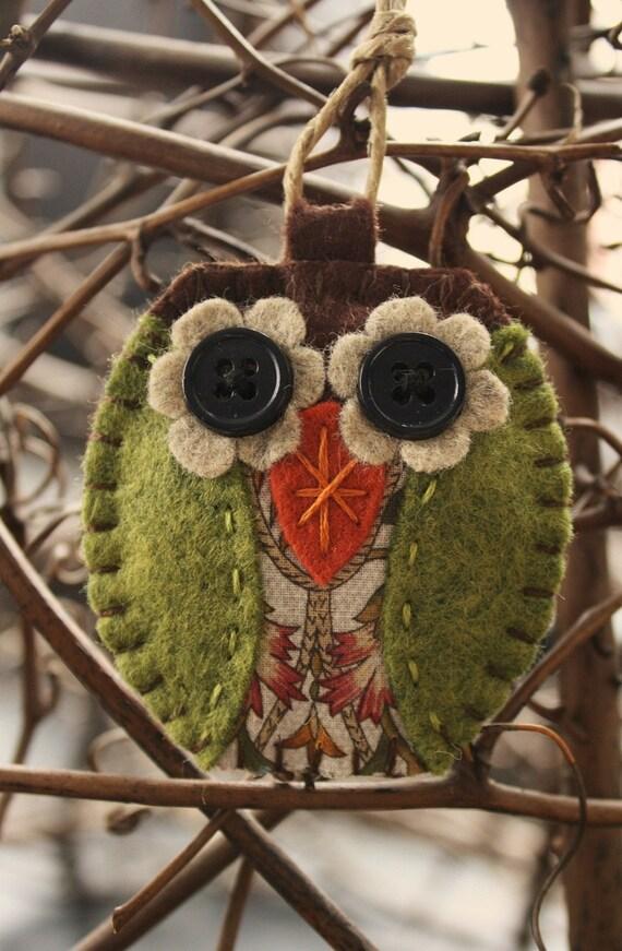 owl felt and fabric ornament decoration