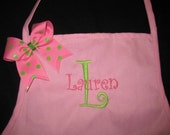 Child Toddler Personalized Monogrammed Ribbon Apron - Great Easter or Birthday Gift