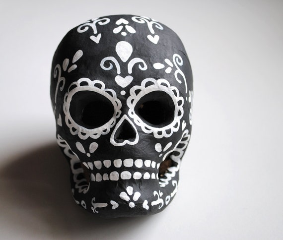 Black and White Classic Day of the Dead Paper Mache Sugar Skull