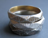 sterling silver FACET ring sz 7 YOUR CHOICE of color silver gold plate oxidized