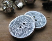 wood grain 2 large BUTTONS solid sterling silver wood slice