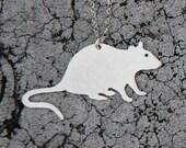 pet RAT urban pest sterling silver silhouette necklace