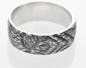 Branch ring mens woodgrain ring KNOTTY PINE sterling silver Made to Order