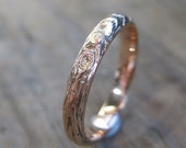 rose gold woodgrain ring Thinnest PLYWOOD 3mm 14kt pink sz 6