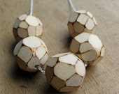 faceted WOOD bold chain beaded necklace
