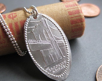 Brooklyn Bridge souvenir elongated sterling penny necklace