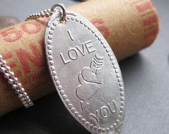 I LOVE YOU souvenir elongated sterling penny necklace Made to Order