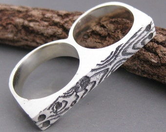 double finger woodgrain ring knuckle duster  DOUBLE WOOD as seen in Time Out NY magazine sterling silver size 6.75 and 8.5