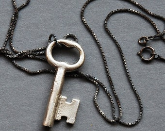 solid silver skeleton key necklace- Made To Order
