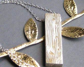 woodgrain pendant golden PLANK 2x4 gold plated sterling necklace Made to Order