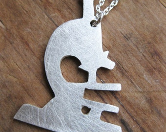 MICROSCOPE sterling silver silhouette necklace