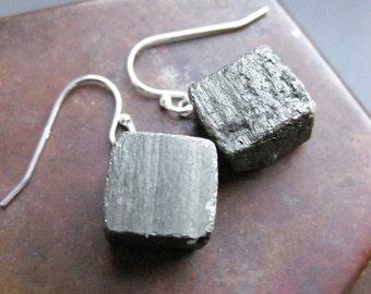 pyrite CUBE earrings