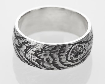 woodgrain ring PLYWOOD mens band faux bois sterling silver size 7.75