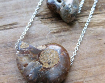 twin AMMONITE fossil sterling silver necklace