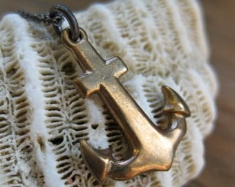 Nautical ANCHOR solid bronze charm necklace