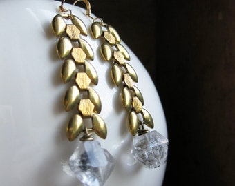brass chain and HERKIMER diamond quartz natural crystal earrings