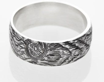 knotty pine wood grain mens band sterling silver ring size 12