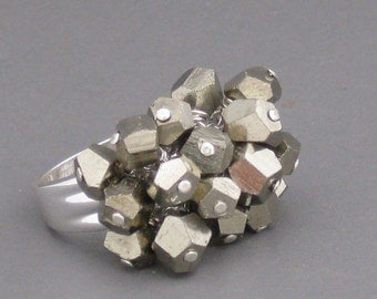 pyrite FOOLS GOLD beaded kinetic ring size 5