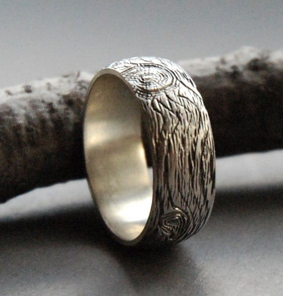 knotty pine sterling silver ring size 7.75