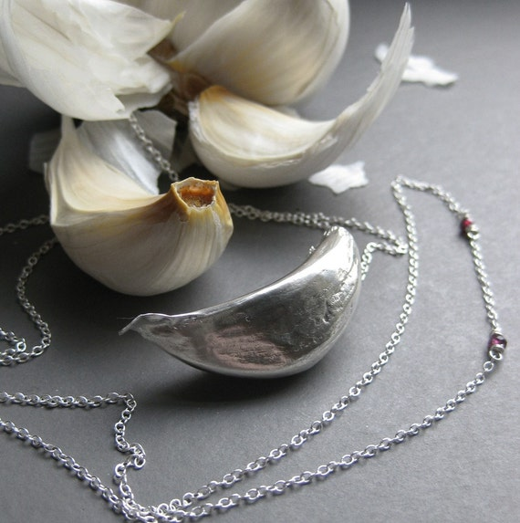 garlic VAMPIRE REPELLANT or MAGNET sterling necklace