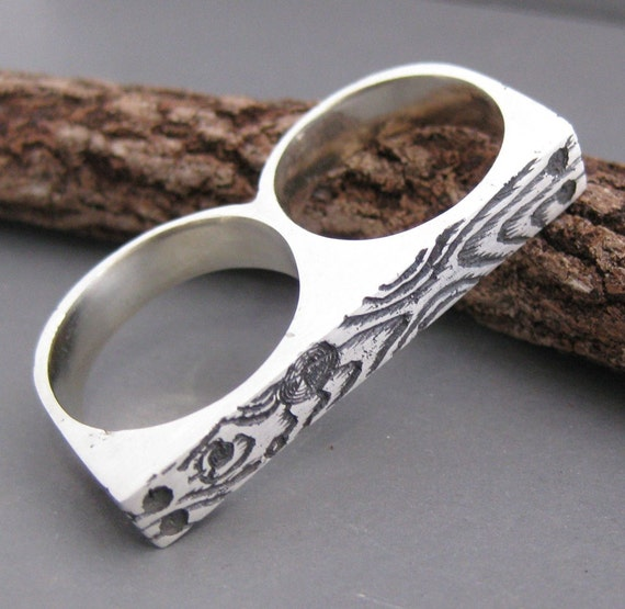 woodgrain knuckle duster double ring DOUBLE WOOD as seen in Time Out NY magazine  sterling silver size 6 and 7