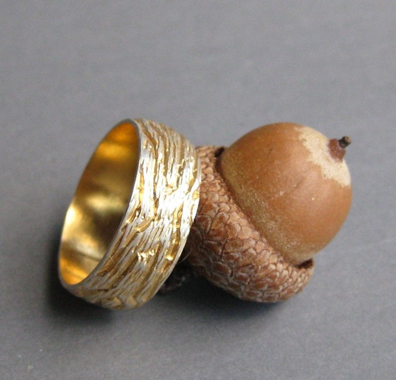 golden OAK gold plated sterling silver woodgrain ring sz 12