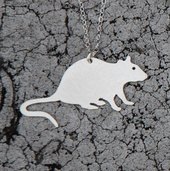 pet RAT urban pest sterling silver silhouette necklace