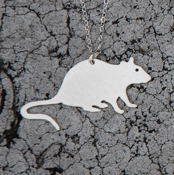 pet RAT urban pest handmade sterling silver silhouette necklace