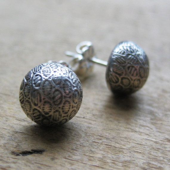 Victorian Button earrings OVALS sterling silver