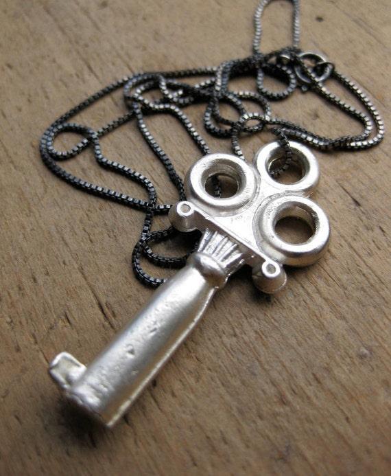 Large skeleton key necklace solid silver