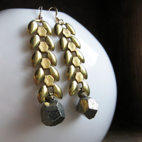 WHEAT brass chain and PYRITE earrings