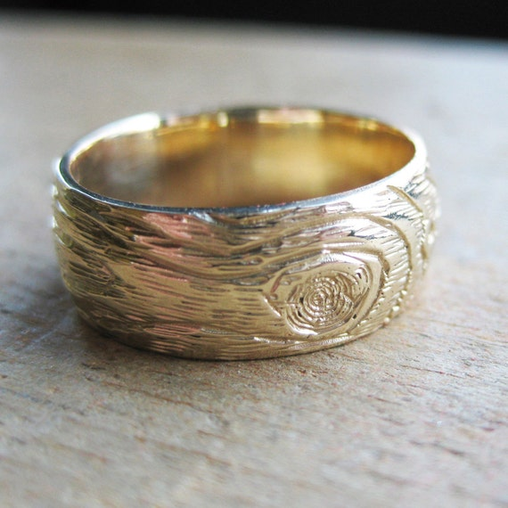 Gold Wood Grain Ring Plywood 14 Kt Yellow Faux By Ballandchain