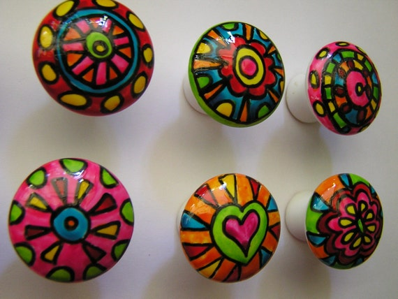 Hand painted porcelain cabinet dresser knobs pulls handles for Painted ceramic cabinet knobs
