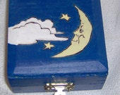 Wood trinket box, woodburned and painted night sky DISCOUNTED